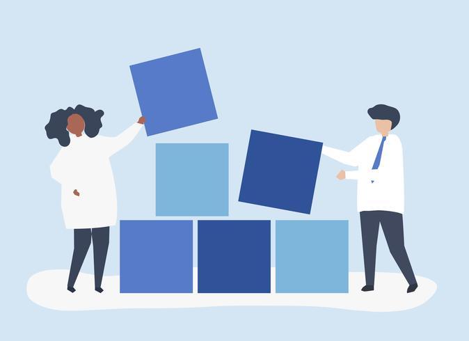 Teamwork concept illustration of a couple building blocks together