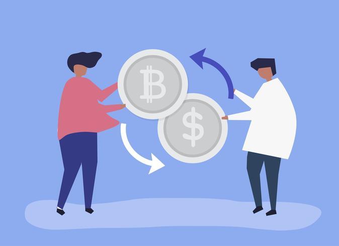 Personas que intercambian bitcoins por dólares.