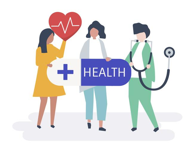 Characters of people holding healthcare icons illustration