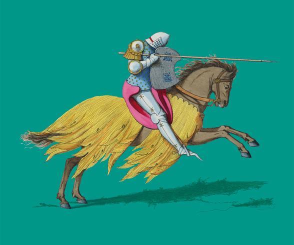 Chevalier Francais, XIVe Siècle, de Paul Mercuri (1860), cavaleiro a cavalo com armadura completa pronta para justa. Digitalmente aprimorada pelo rawpixel.