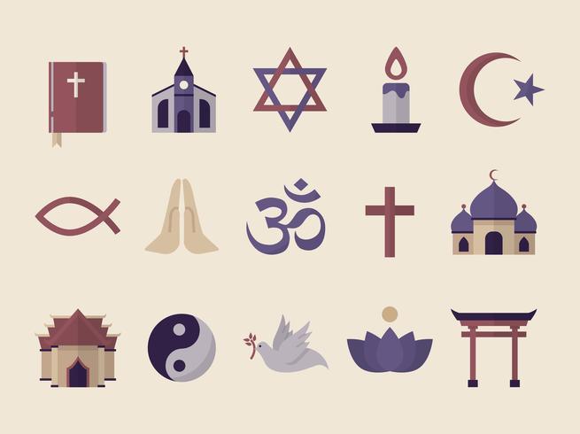 KOLlection av illustrerade religiösa symboler