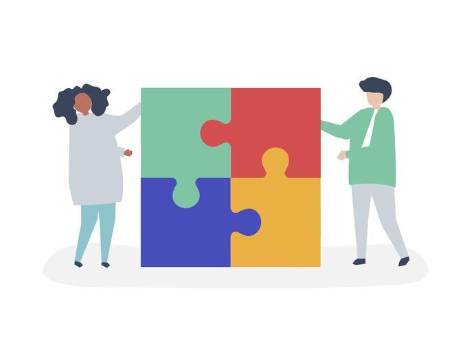 Charakter eines Paares, das Puzzlespiel löst, bessert Illustration aus