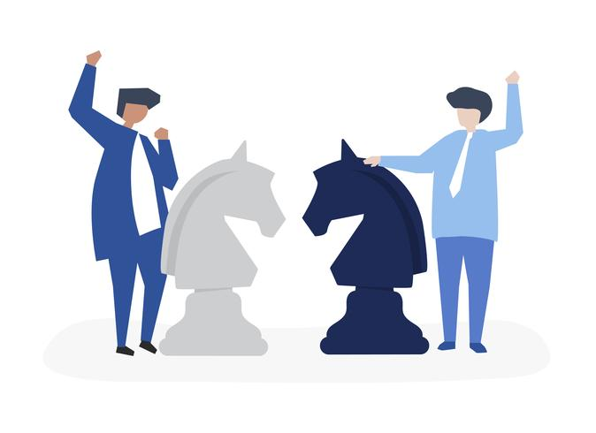 Characters of two businessmen playing chess illustration