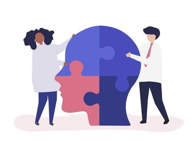 Personnes reliant des morceaux de puzzle d'une tête ensemble