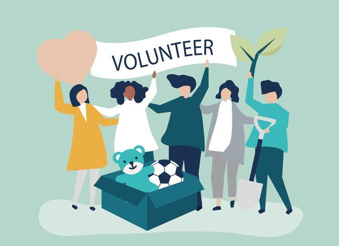 Personnes qui font du bénévolat et donnent de l'argent et des objets à une cause caritative