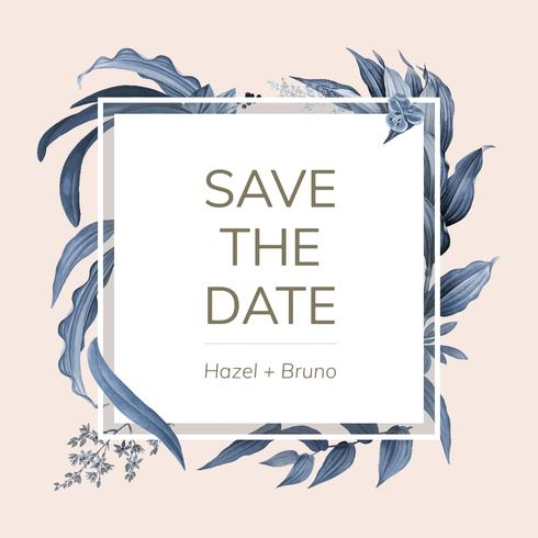 De uitnodigingskaart van het huwelijk met de blauwe vector van het bladerenontwerp