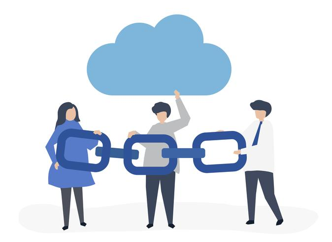 Cloud computing concept illustration of people holding a chain