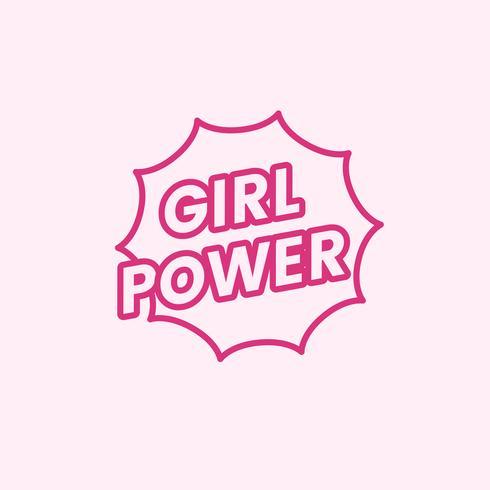 Meisje macht embleem badge illustratie
