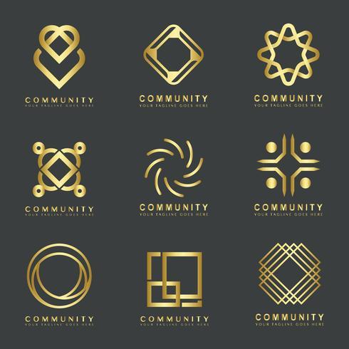 Set av community branding logotyp designprover