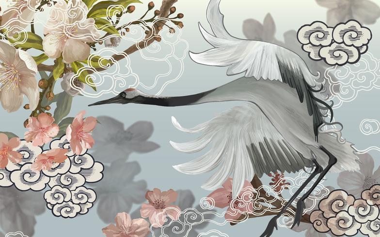 Flying elegant white Japanese crane