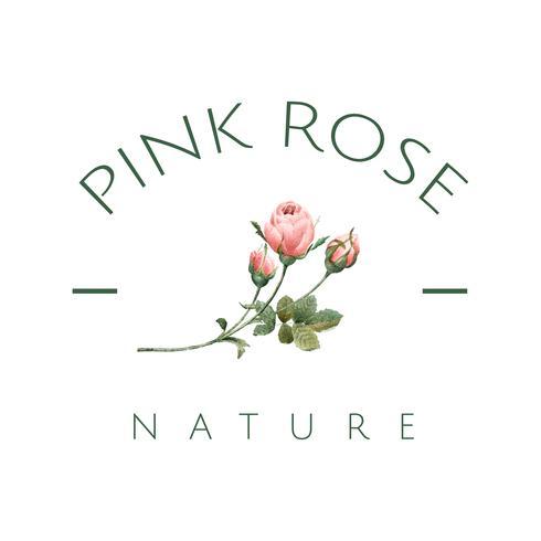 Hand drawn pink rose emblem vector