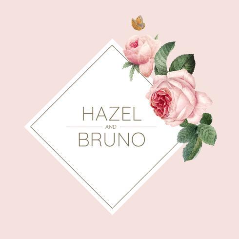 Carta dell'invito di nozze decorata con il vettore delle rose