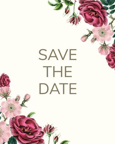 Speichern Sie das Datum mit Blumenmustervektor
