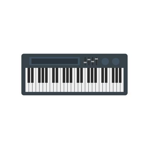 Electronic keyboard piano isolated graphic illustration