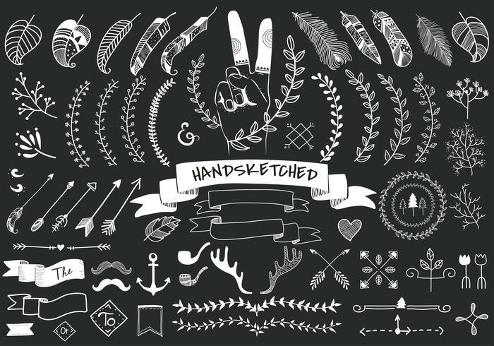 Samling uppsättning av hand skissade etikett ornament vektor illustration