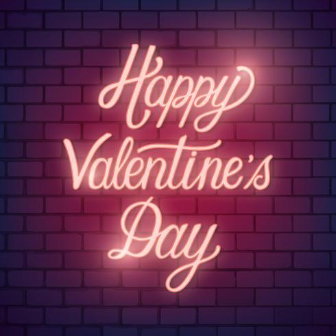 Neon valentine's day illustration