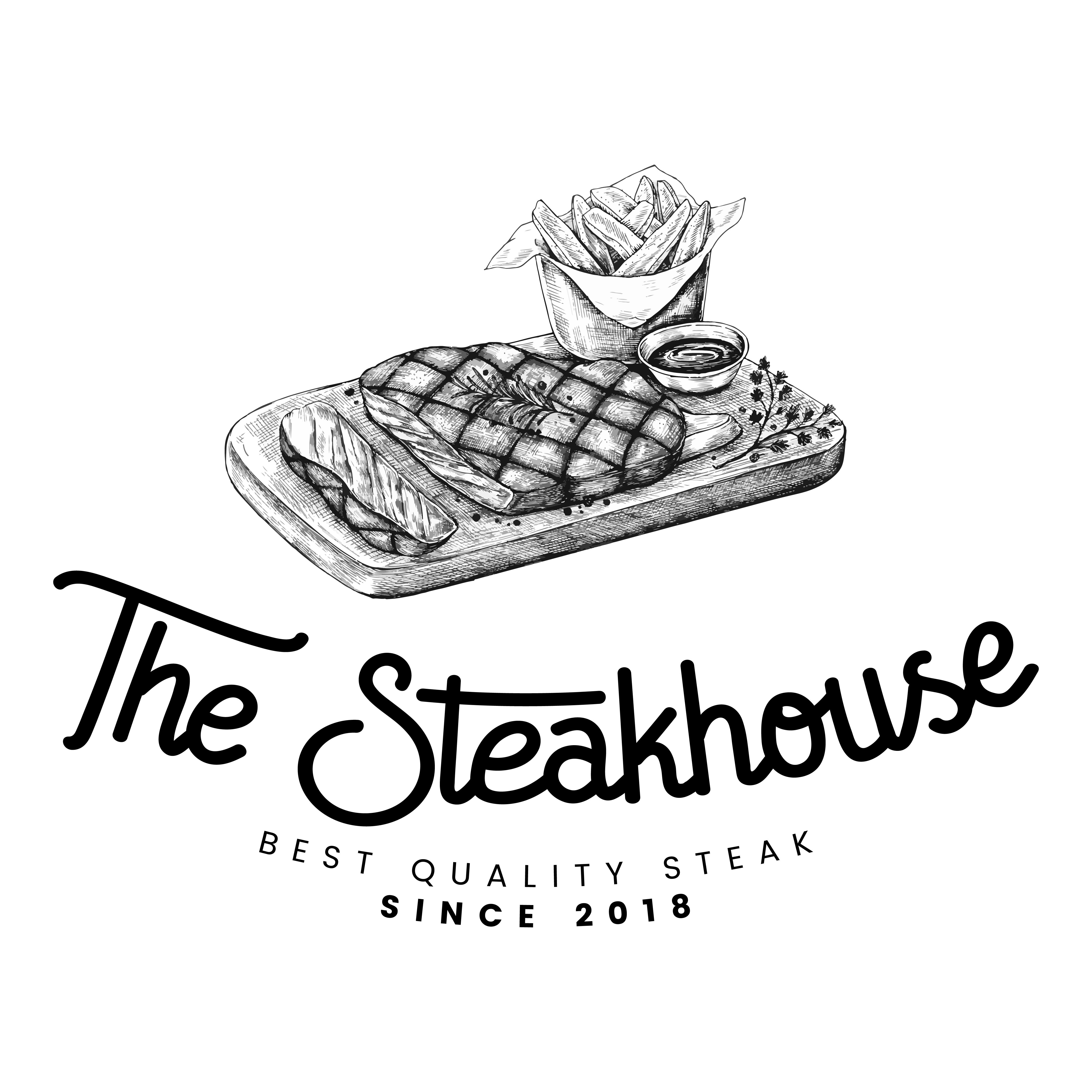 Retro Bakery Logo Concept: The Steakhouse Logo Design Vector