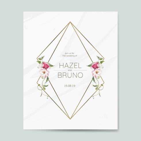 Bröllop inbjudningskort mockup vektor