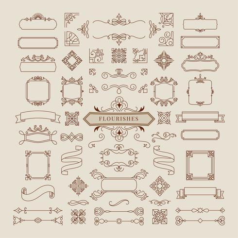 Collection d'illustration de cadre d'ornement vintage