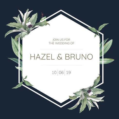 Cartão de convite de casamento com vetor de design de folhas verdes