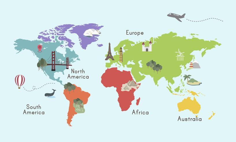Ilustração do mapa do mundo isolado