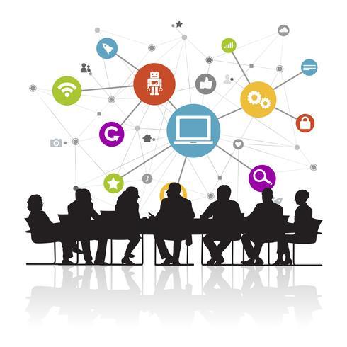 Illustration av affärsmän i mötet vektor