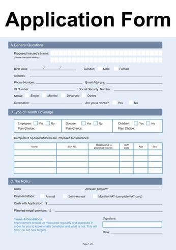 Illustration of application form