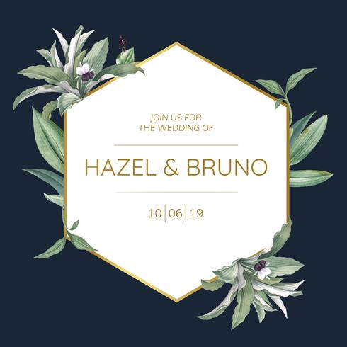 Wedding invitation card with green leaves design vector