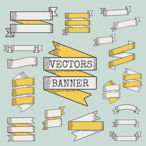 Set of ribbon and banner vectors