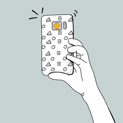 Vektor av händer som tar foto med smartphone