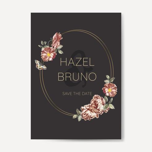 Diseño floral de la invitación