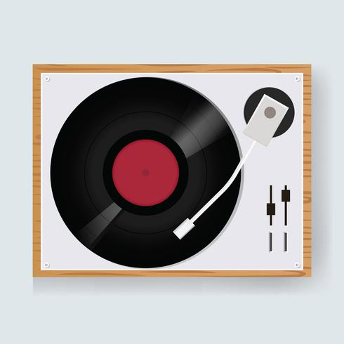 Ilustração, de, um, vindima, vinil, jogador disco