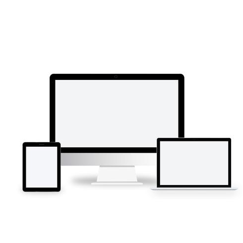 Ilustração de dispositivos digitais isolados