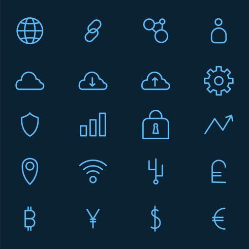 Cryptocurrency set vetor de símbolo de dinheiro eletrônico
