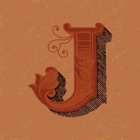 Hoofdletter J vintage typografie stijl