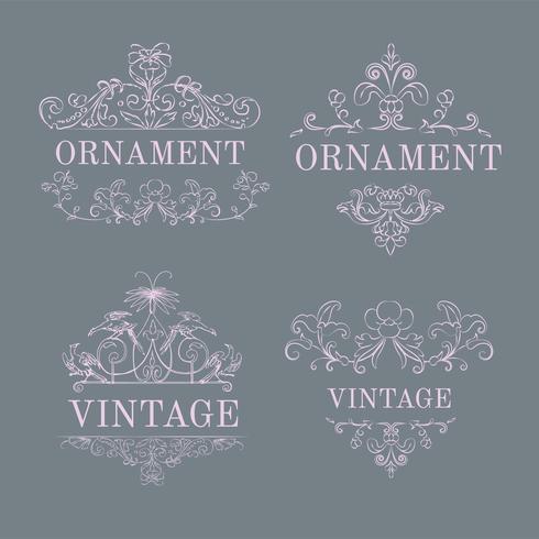 Vintage bloeien ornament illustratie set