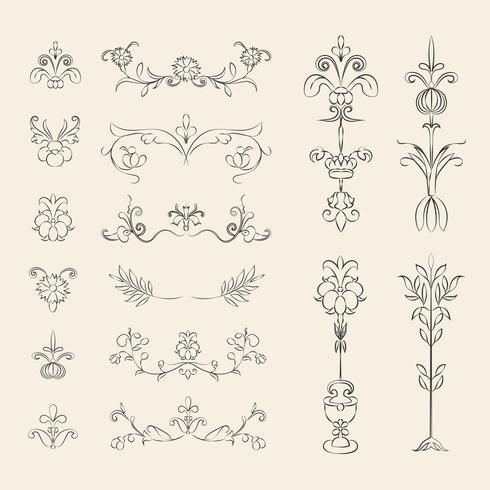 Sistema del ejemplo del ornamento del flourish del vintage