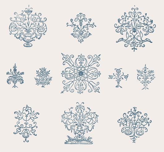 Tappning blomstra prydnad illustration