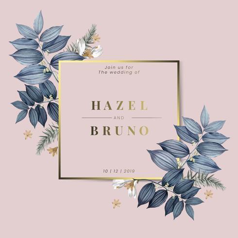 Floral bröllop inbjudningskort design vektor