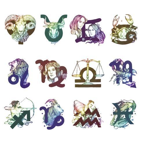 Conjunto de ilustración de símbolos del horóscopo