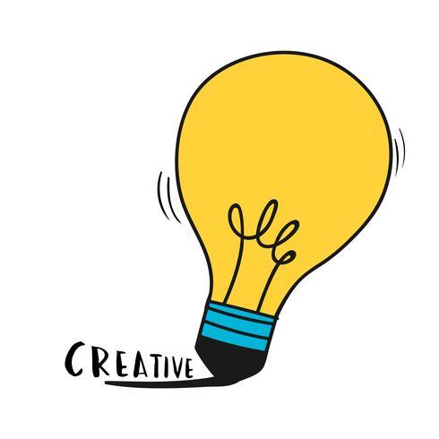 Mão, desenhado, bulbo leve, ilustração