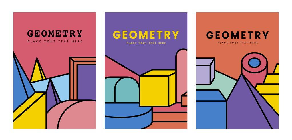 Colorful geometry mockup graphic design vector