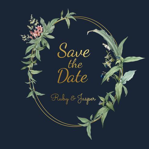 Blom- bröllopinbjudan design