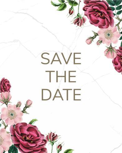 Spara datumet med blommig design vektor