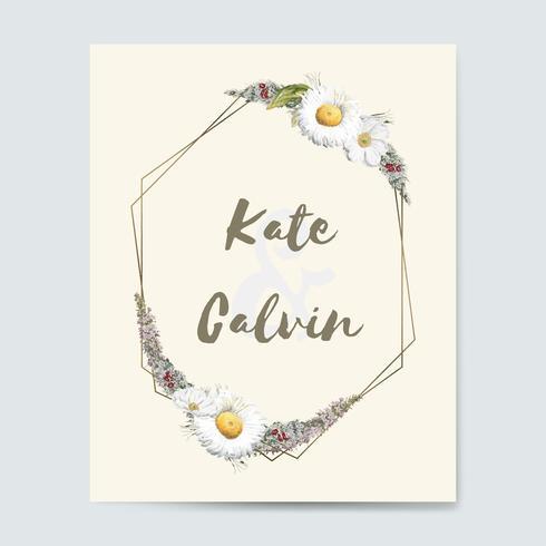 Flora bröllop inbjudningskort mockup vektor