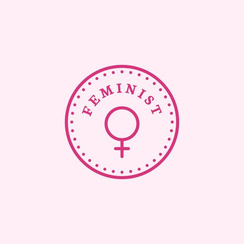 Feminist circle emblem badge illustration
