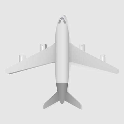 Vista dall'alto di Flatlay dell'illustrazione bianca di vettore dell'aeroplano