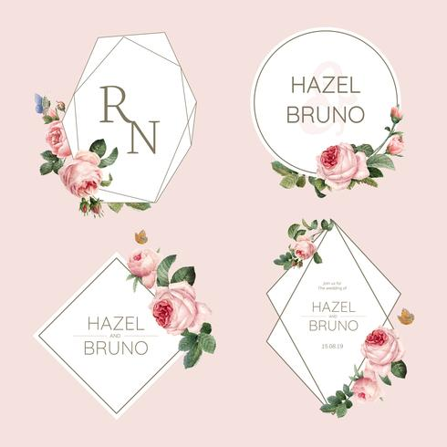 De uitnodigingskaart van het huwelijk die met rozenvector wordt verfraaid