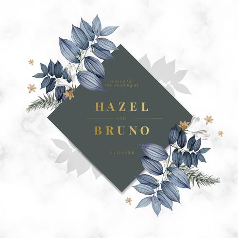 Blue floral wedding invitation card