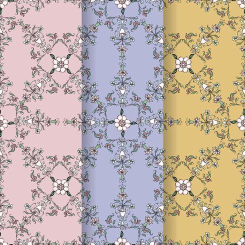 Vintage blomstrande mönster bakgrundsuppsättning vektor